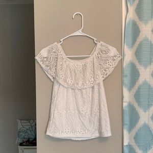 Lace off the shoulder top!